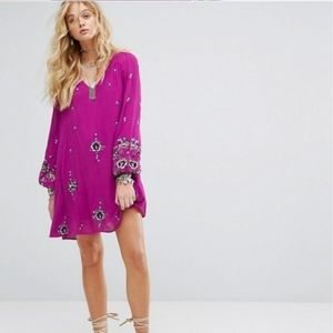 Free People  Embroidered Floral Mini Swing Dress